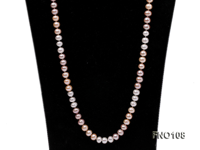 8.5-9.5mm natural multicolor flat freshwater pearl opera necklace big Image 2