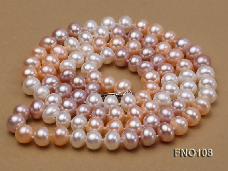 8.5-9.5mm natural multicolor flat freshwater pearl opera necklace big Image 3