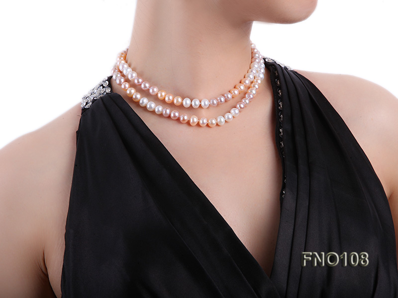 8.5-9.5mm natural multicolor flat freshwater pearl opera necklace big Image 8