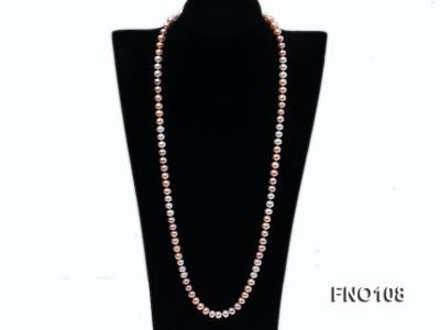 8.5-9.5mm natural multicolor flat freshwater pearl opera necklace FNO108 Image 1