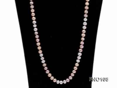 8.5-9.5mm natural multicolor flat freshwater pearl opera necklace FNO108 Image 2