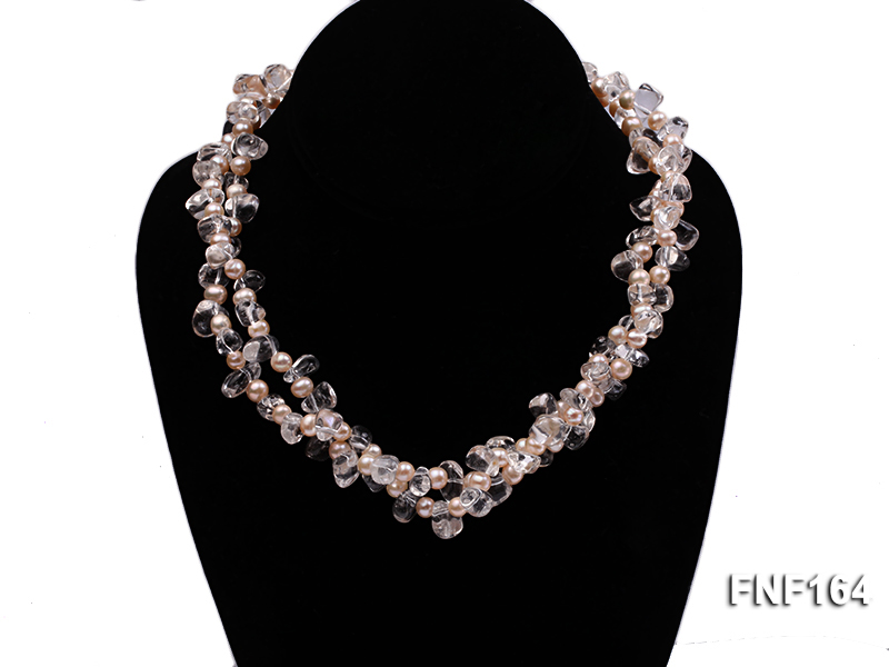 Two-strand Pink Freshwater Pearl and Crystal Beads Necklace big Image 2