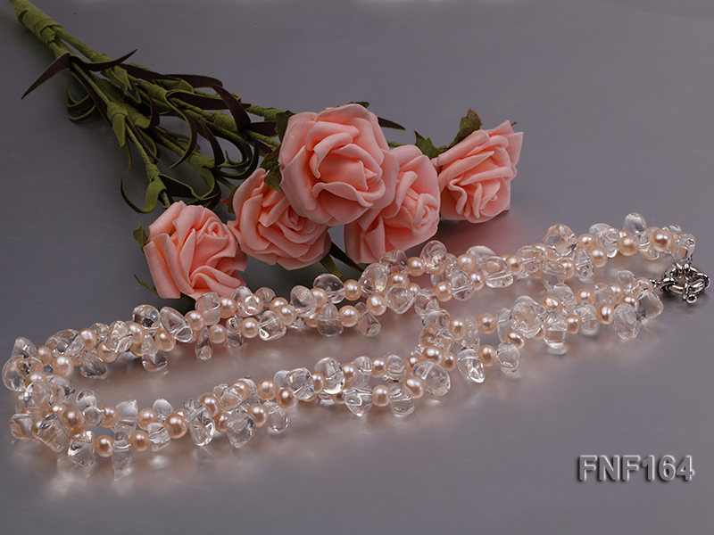 Two-strand Pink Freshwater Pearl and Crystal Beads Necklace big Image 3
