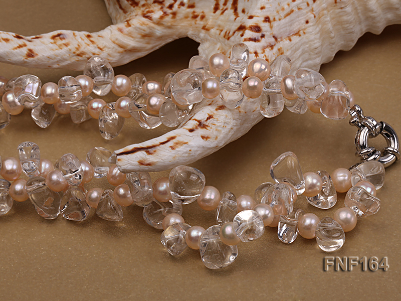 Two-strand Pink Freshwater Pearl and Crystal Beads Necklace big Image 4