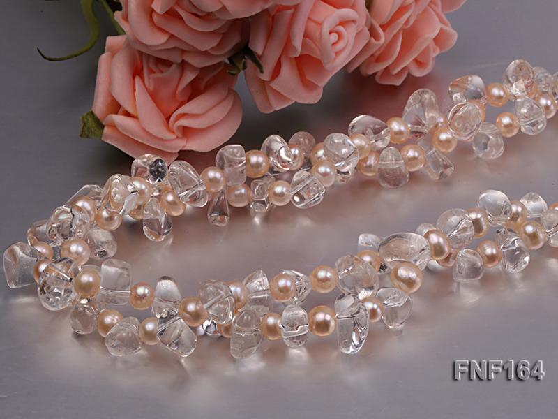 Two-strand Pink Freshwater Pearl and Crystal Beads Necklace big Image 5