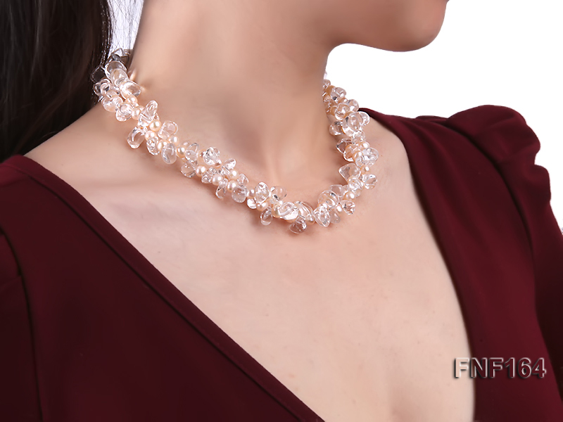 Two-strand Pink Freshwater Pearl and Crystal Beads Necklace big Image 6