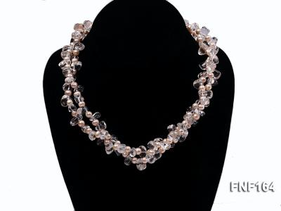 Two-strand Pink Freshwater Pearl and Crystal Beads Necklace FNF164 Image 2