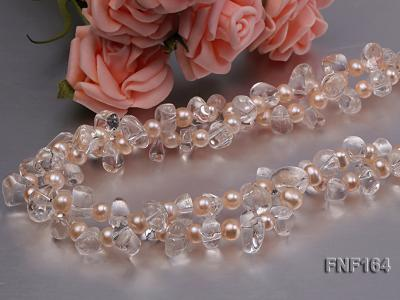 Two-strand Pink Freshwater Pearl and Crystal Beads Necklace FNF164 Image 5