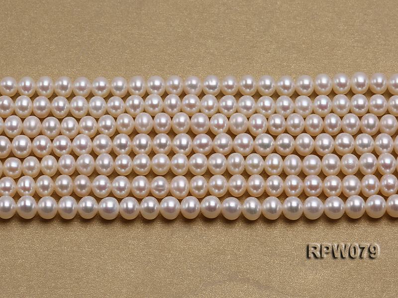 Wholesale AAAAA 5-6mm Classic White Round Freshwater Pearl String big Image 2