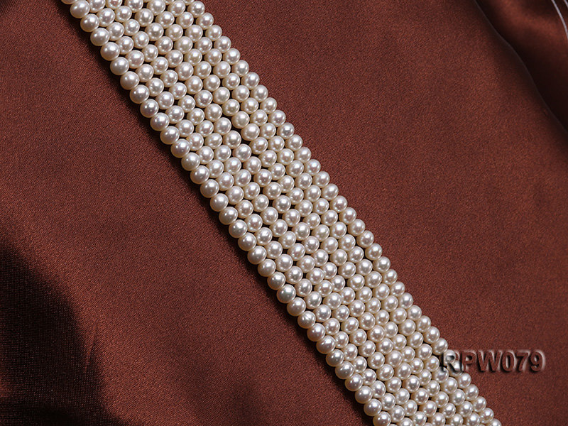 Wholesale AAAAA 5-6mm Classic White Round Freshwater Pearl String big Image 3
