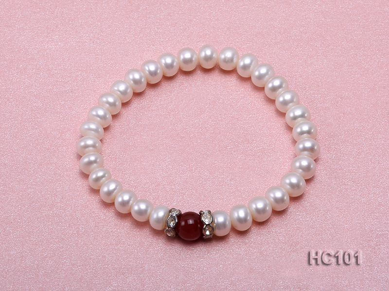 7-8mm white freshwater pearl and red agate bracelet big Image 1