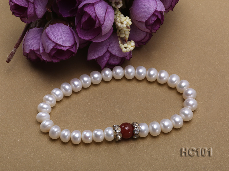 7-8mm white freshwater pearl and red agate bracelet big Image 2