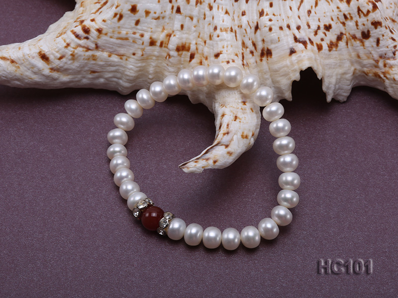 7-8mm white freshwater pearl and red agate bracelet big Image 3