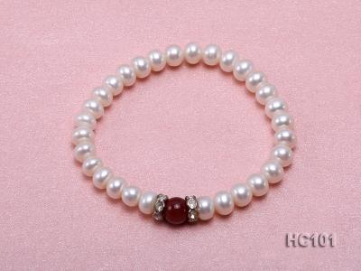 7-8mm white freshwater pearl and red agate bracelet HC101 Image 1