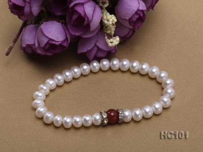 7-8mm white freshwater pearl and red agate bracelet HC101 Image 2