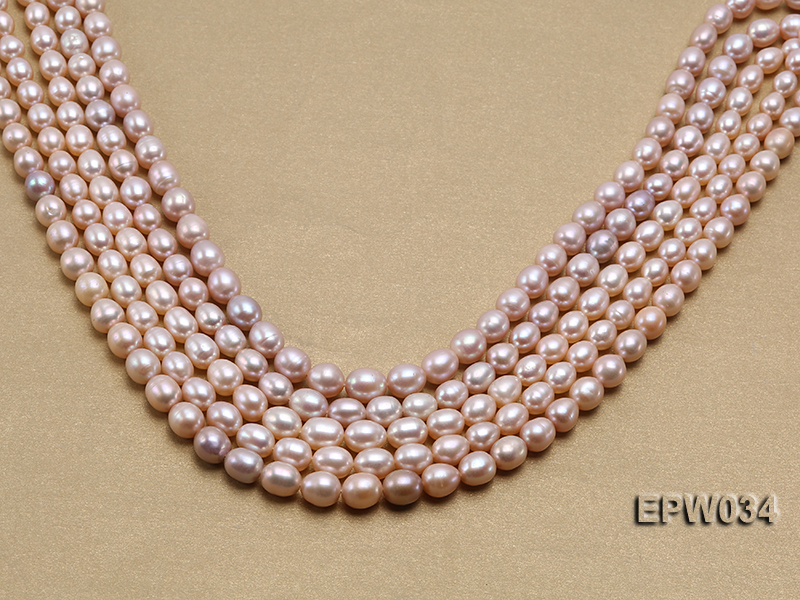 Wholesale 6.5x8mm Natural Pink Rice-shaped Freshwater Pearl String big Image 2