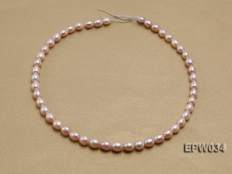 Wholesale 6.5x8mm Natural Pink Rice-shaped Freshwater Pearl String big Image 3