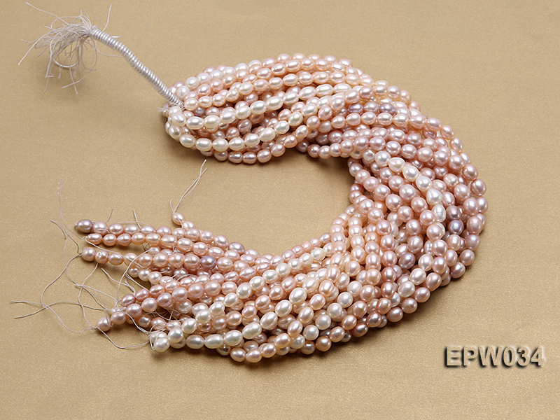 Wholesale 6.5x8mm Natural Pink Rice-shaped Freshwater Pearl String big Image 4