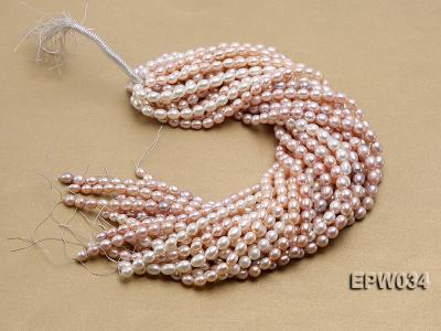 Wholesale 6.5x8mm Natural Pink Rice-shaped Freshwater Pearl String EPW034 Image 4