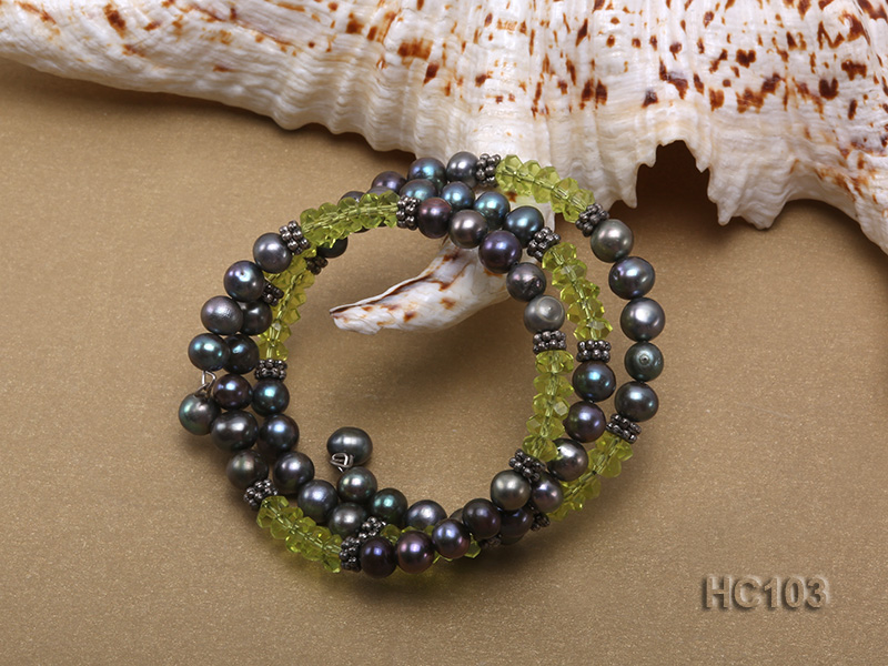 3 strand black freshwater pearl and green crystal bracelet big Image 2