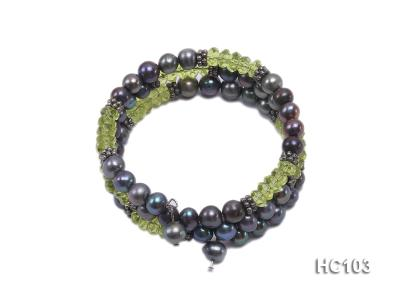 3 strand black freshwater pearl and green crystal bracelet HC103 Image 1