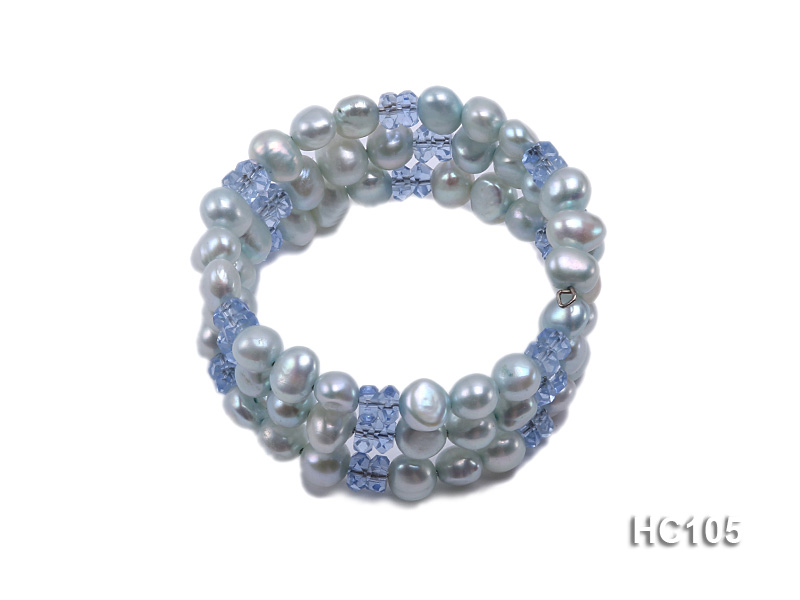 3 strand bule freshwater pearl and crystal bracelet big Image 1
