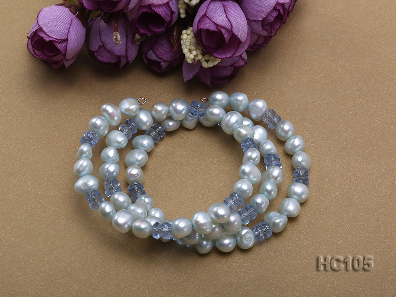 3 strand bule freshwater pearl and crystal bracelet big Image 2
