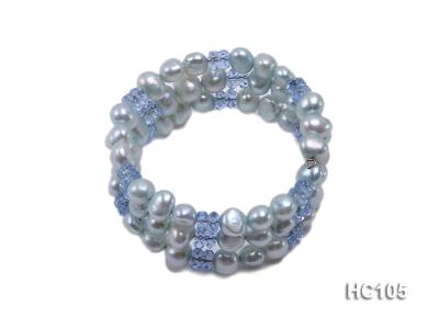 3 strand bule freshwater pearl and crystal bracelet HC105 Image 1
