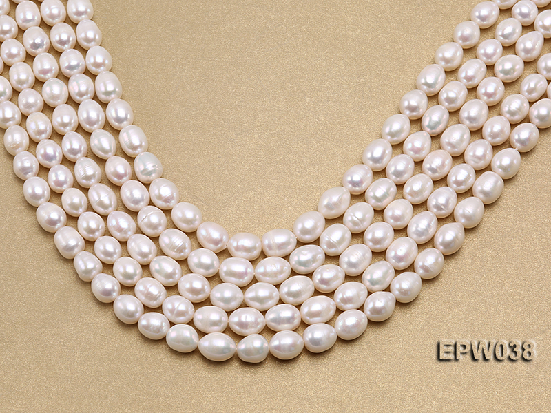 Wholesale 9X11mm Classic White Rice-shaped Freshwater Pearl String big Image 1