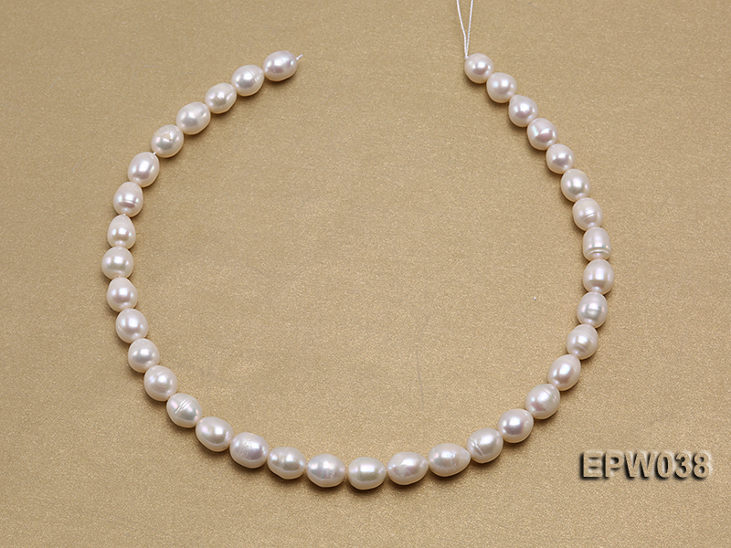 Wholesale 9X11mm Classic White Rice-shaped Freshwater Pearl String big Image 3