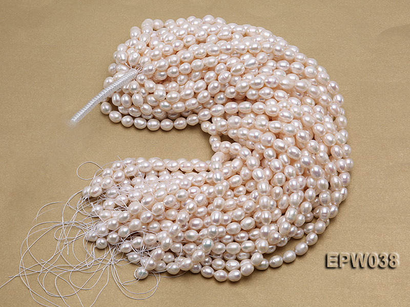 Wholesale 9X11mm Classic White Rice-shaped Freshwater Pearl String big Image 4