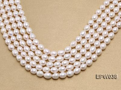 Wholesale 9X11mm Classic White Rice-shaped Freshwater Pearl String EPW038 Image 1