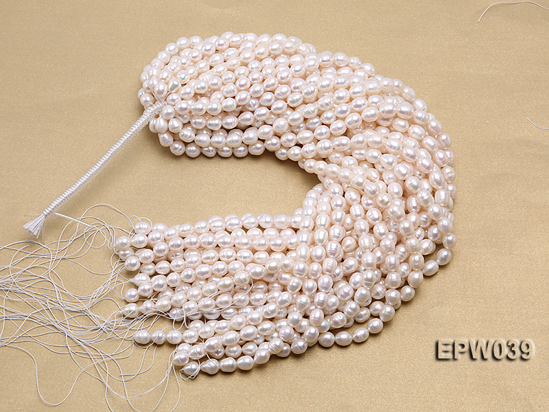 Wholesale 7-8mm Classic White Rice-shaped Freshwater Pearl String big Image 4