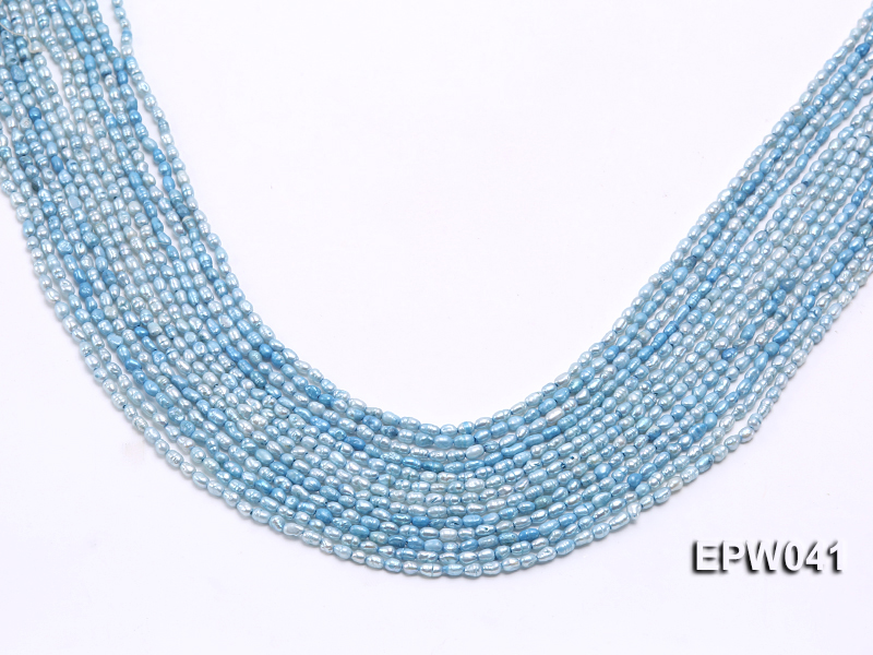Wholesale 3x3.5mm  Blue Rice-shaped Freshwater Pearl String big Image 1