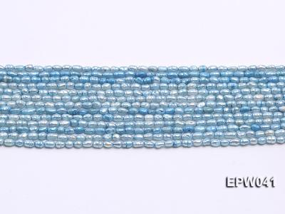 Wholesale 3x3.5mm  Blue Rice-shaped Freshwater Pearl String EPW041 Image 2
