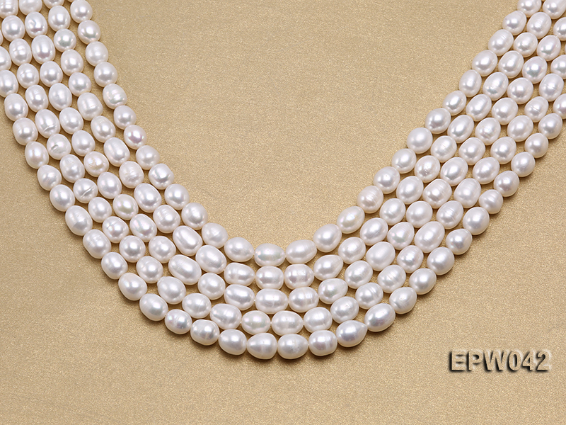 Wholesale 7.5x10mm Classic White Rice-shaped Freshwater Pearl String big Image 1