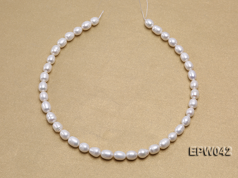 Wholesale 7.5x10mm Classic White Rice-shaped Freshwater Pearl String big Image 3