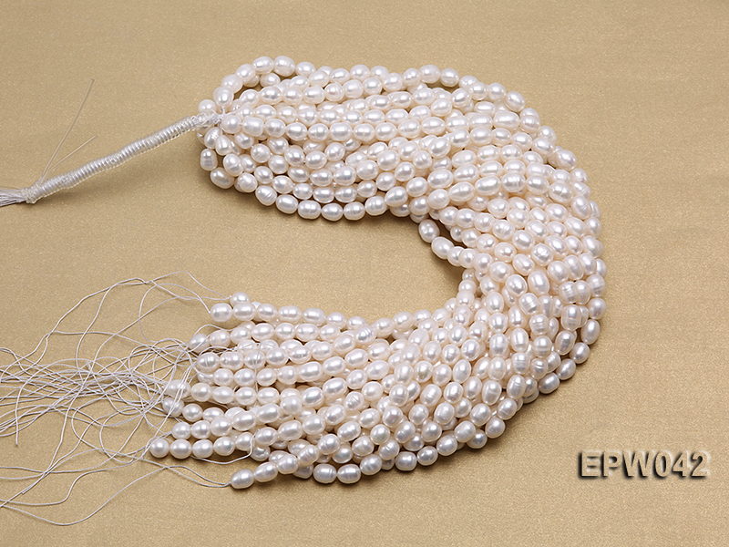 Wholesale 7.5x10mm Classic White Rice-shaped Freshwater Pearl String big Image 4