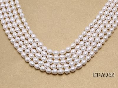 Wholesale 7.5x10mm Classic White Rice-shaped Freshwater Pearl String EPW042 Image 1