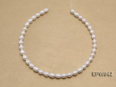 Wholesale 7.5x10mm Classic White Rice-shaped Freshwater Pearl String EPW042 Image 3