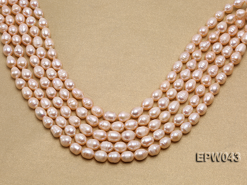 Wholesale 9X11.5mm Lovely Pink Rice-shaped Freshwater Pearl String big Image 2