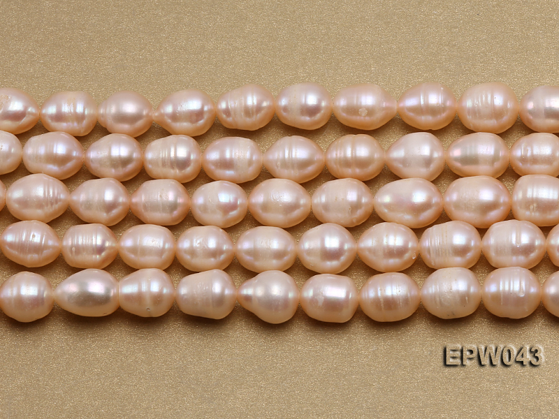 Wholesale 9X11.5mm Lovely Pink Rice-shaped Freshwater Pearl String big Image 1