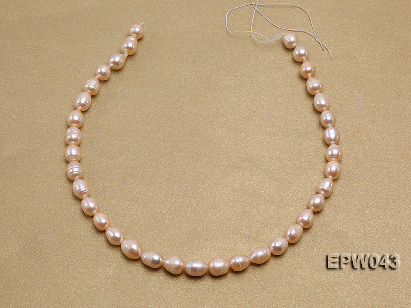 Wholesale 9X11.5mm Lovely Pink Rice-shaped Freshwater Pearl String big Image 3