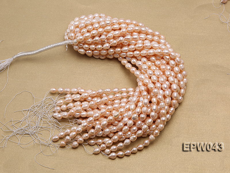 Wholesale 9X11.5mm Lovely Pink Rice-shaped Freshwater Pearl String big Image 4