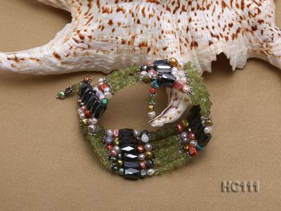 Multicolor pearl gemstone and crystal bracelet HC111 Image 2
