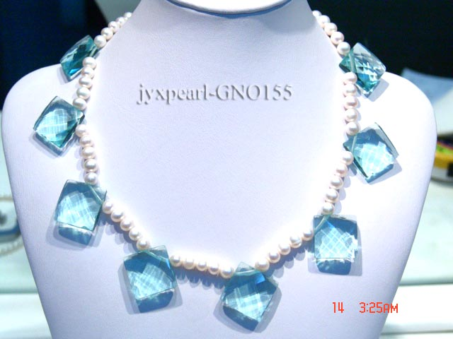 6-7mm white round pearl and light blue rhombic gem necklace big Image 1