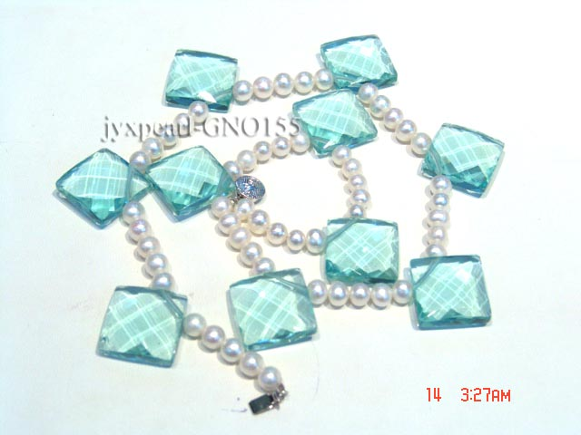 6-7mm white round pearl and light blue rhombic gem necklace big Image 2