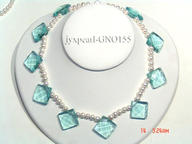 6-7mm white round pearl and light blue rhombic gem necklace big Image 3