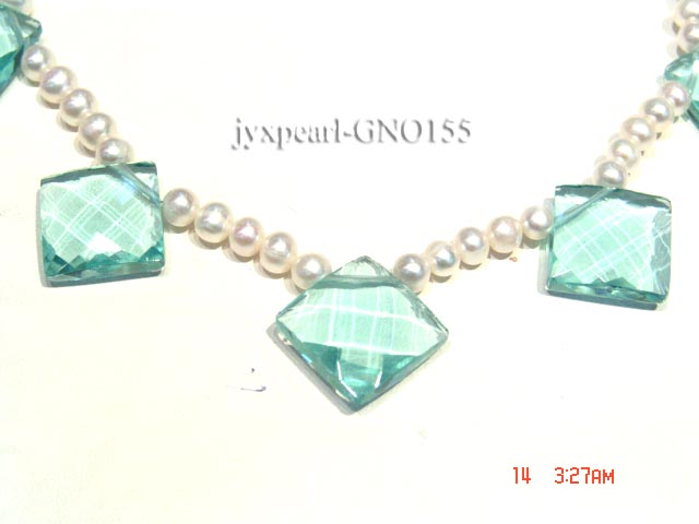 6-7mm white round pearl and light blue rhombic gem necklace big Image 4