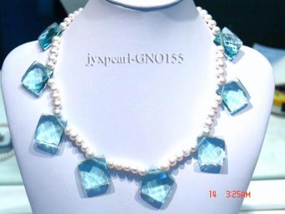 6-7mm white round pearl and light blue rhombic gem necklace GNO155 Image 1